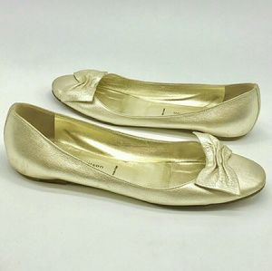 Sigerson Morrison Leather Gold Bow Tie Flats